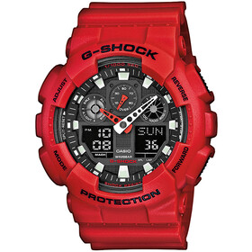CASIO G-SHOCK GA-100B-4AER Watch Men, red/red/black